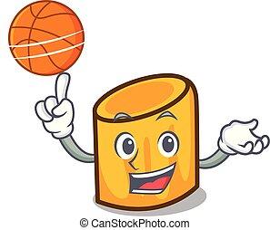stile, pallacanestro, carattere, cartone animato, rigatoni