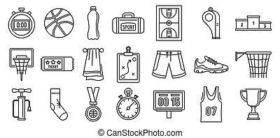 stile, pallacanestro, contorno, icone, set, apparecchiatura, gioco