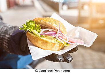 stile, panino, lattuga, tedesco, aringa, fish, giovane, cipolle, rotolo, bread