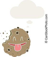 stile, pensiero, biscotto, retro, bolla, cartone animato