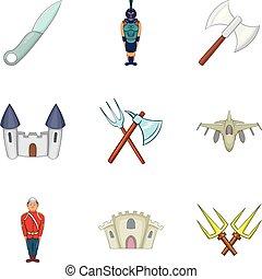 stile, persone, set, icone, uniforme, cartone animato