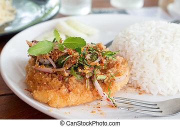 stile, piccante, cibo, croccante, fish, profondo, caldo, bistecca, carrello, delizioso, erba, basilico, mescolare, tailandese, fritto, salsa