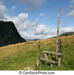 Stile - A stile across a wire fence in the English Lake...