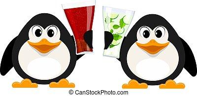 stile, pinguini, animali, astratto, due, illustrazione, analcolico, vettore, drinks., mojito., piccolo, occhiali, cartone animato, cola