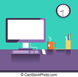 stile, place., ufficio, disegno, appartamento, interno