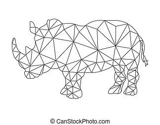 stile, poligono, colorare, rinoceronte, disegno, contorno