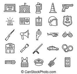 stile, polizia, contorno, icone, set, elemento, apparecchiatura