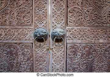 stile, porta, legno, su, tradizionale, chiudere, tailandese