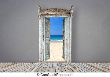 stile, porta, stanza, legno, grigio, colorare, retro, spiaggia, aperto