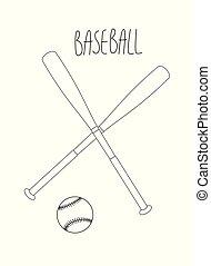 stile, poster., illustration., vendemmia, vettore, baseball, retro