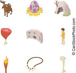 stile, preistorico, icone, set, cartone animato, uomo