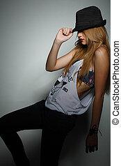 stile, ragazza, bello, foto