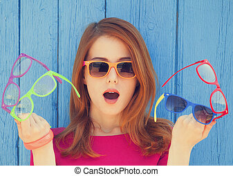 stile, ragazza, con, occhiali