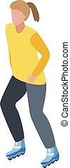 stile, ragazza, rullo pattina, isometrico, icona