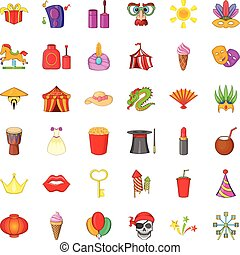 stile, regalo, icone, set, cartone animato, celebrazione