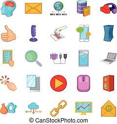 stile, rete, icone, set, computer, cartone animato