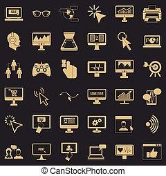 stile, rete, icone, set, semplice, computer