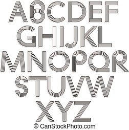 stile retro, alphabet.