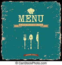 stile, ristorante, menu., vettore, disegno, retro