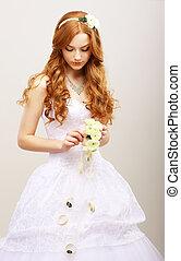 stile, romance., reverie., &, capelli, sposa, matrimonio, fiori freschi, tenerezza, rosso