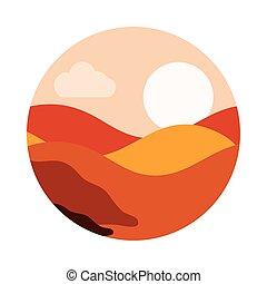 stile, sabbia, cielo, deserto, sole, icona, paesaggio, ...