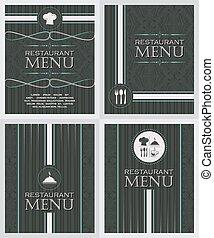 stile, sagoma, retro, set, menu, coperchio, disegno, ristorante