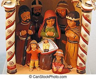stile, santo, scena famiglia, natività, sud americano