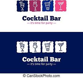 stile, sbarra, cocktail, scarabocchiare, vettore, trendy, logotipo