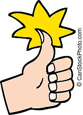 stile, scarabocchiare, simbolo, su, mano, pollici, disegnato, cartone animato