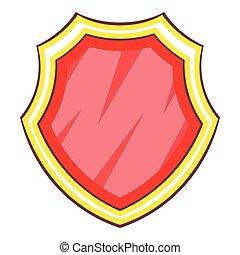 stile, scudo, protezione, icona, cartone animato, rosso