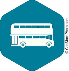 stile, semplice, bus decker duplice, icona