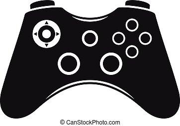 stile, semplice, controllore, gioco, video, icona