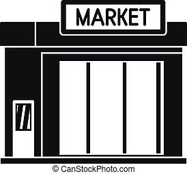 stile, semplice, distributore di benzina, icona, mercato