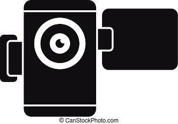 stile, semplice, macchina fotografica, video, icona, casa