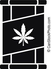 stile, semplice, marijuana, barattolo latta, icona