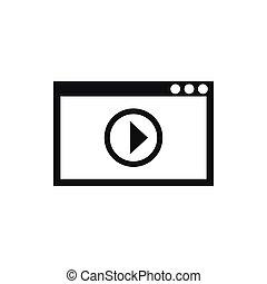 stile, semplice, playback, programma, video, icona