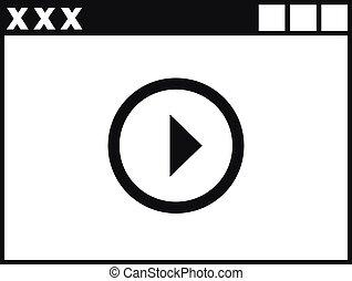 stile, semplice, xxx, giocatore, video, adulto, icona
