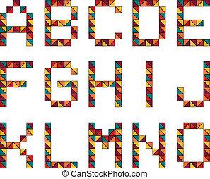 stile, set, 15, colorf, alfabeto, fatto, lettere, geometrico