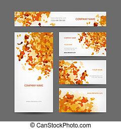 stile, set, affari, astratto, creativo, autunno, cartelle, disegno