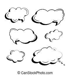 stile, set, arte, oggetti, icone, testo, isolato, pop, cartone animato, slogan, fatto, nero, vector., nubi, comico, bianco, esplosioni, comics.