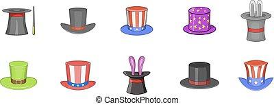 stile, set, cappello a cilindro, cartone animato, icona