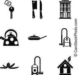 stile, set, casa, custodire, semplice, pulito, icona