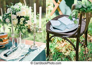 stile, set, collage, rustico, foto, foresta verde, matrimonio