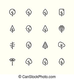 stile, set, contorno, albero, vettore, icona