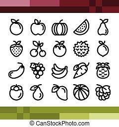 stile, set, contorno, frutta, icone