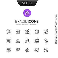 stile, set, contorno, icone, moderno, nero, magro