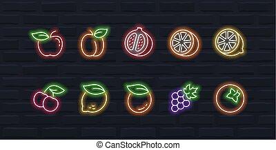 stile, set, contorno, neon, vettore, frutte, #1, icona