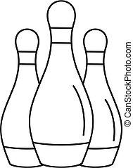 stile, set, contorno, piolini, bowling, icona