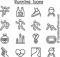 stile, set, correndo, linea sottile, icona