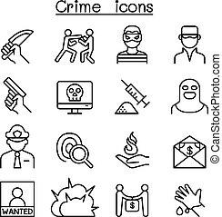 stile, set, crimine, linea sottile, icona